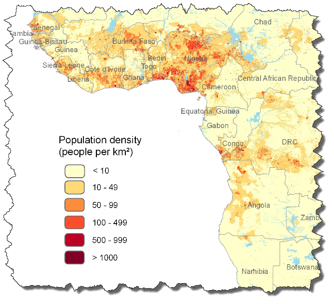 Free population distribution data for Asia and Africa