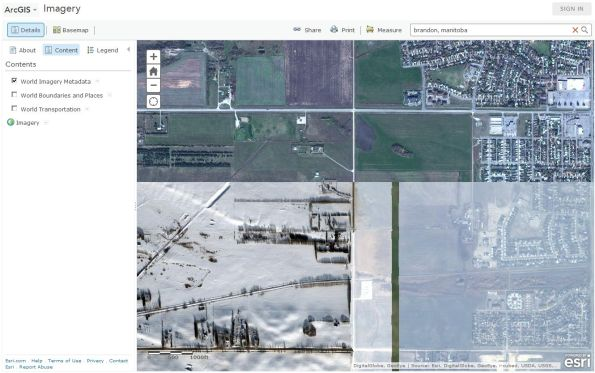 Images of different vintage over Brandon, Manitoba, Canada