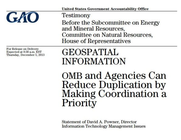 GAO Report on Reducing Duplication and Prioritizing Coordination