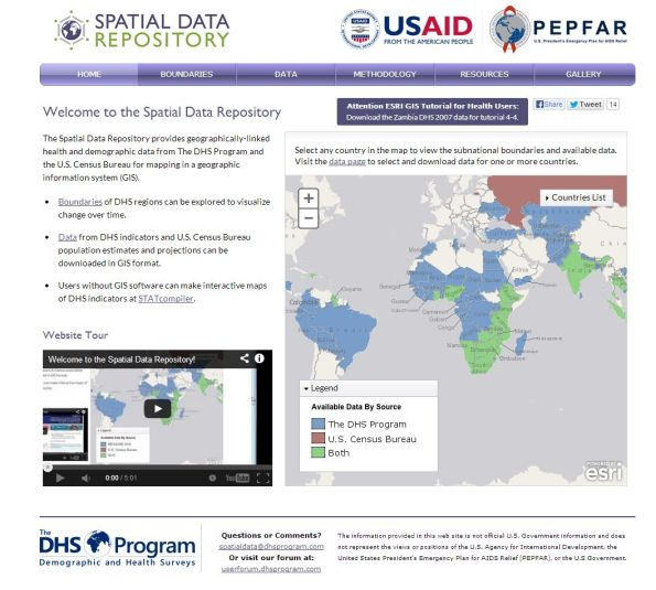 The Spatial Data Repository provides health and demographic data from The Demographic and Health Surveys Program and the U.S. Census Bureau.