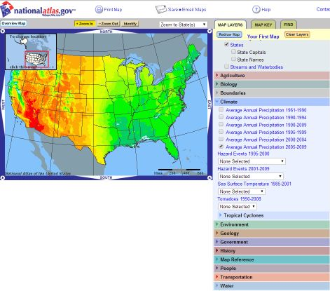 National Atlas website with Map Maker and just a few of the many data layers available.