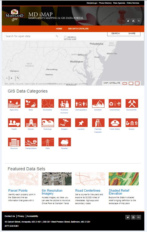 Maryland's iMap Mapping and GIS Data Portal