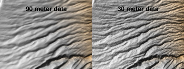 Comparing SRTM data resolutions