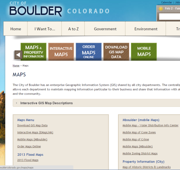 City of Boulder GIS Resources.
