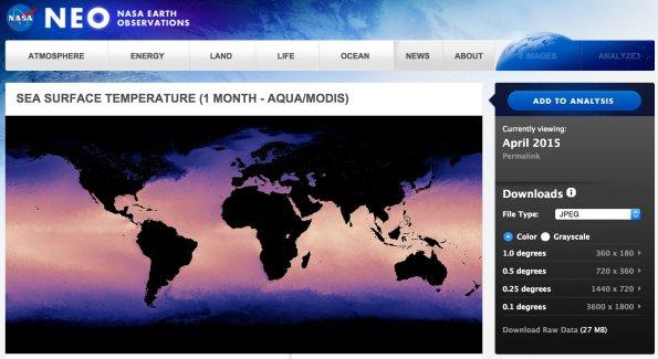 MODIS Sea Surface Temperature dataset