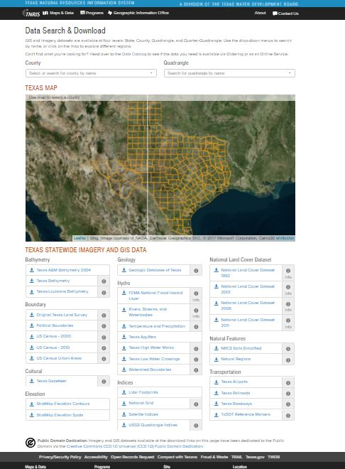A Review of the Texas Natural Resources Information Systems Data