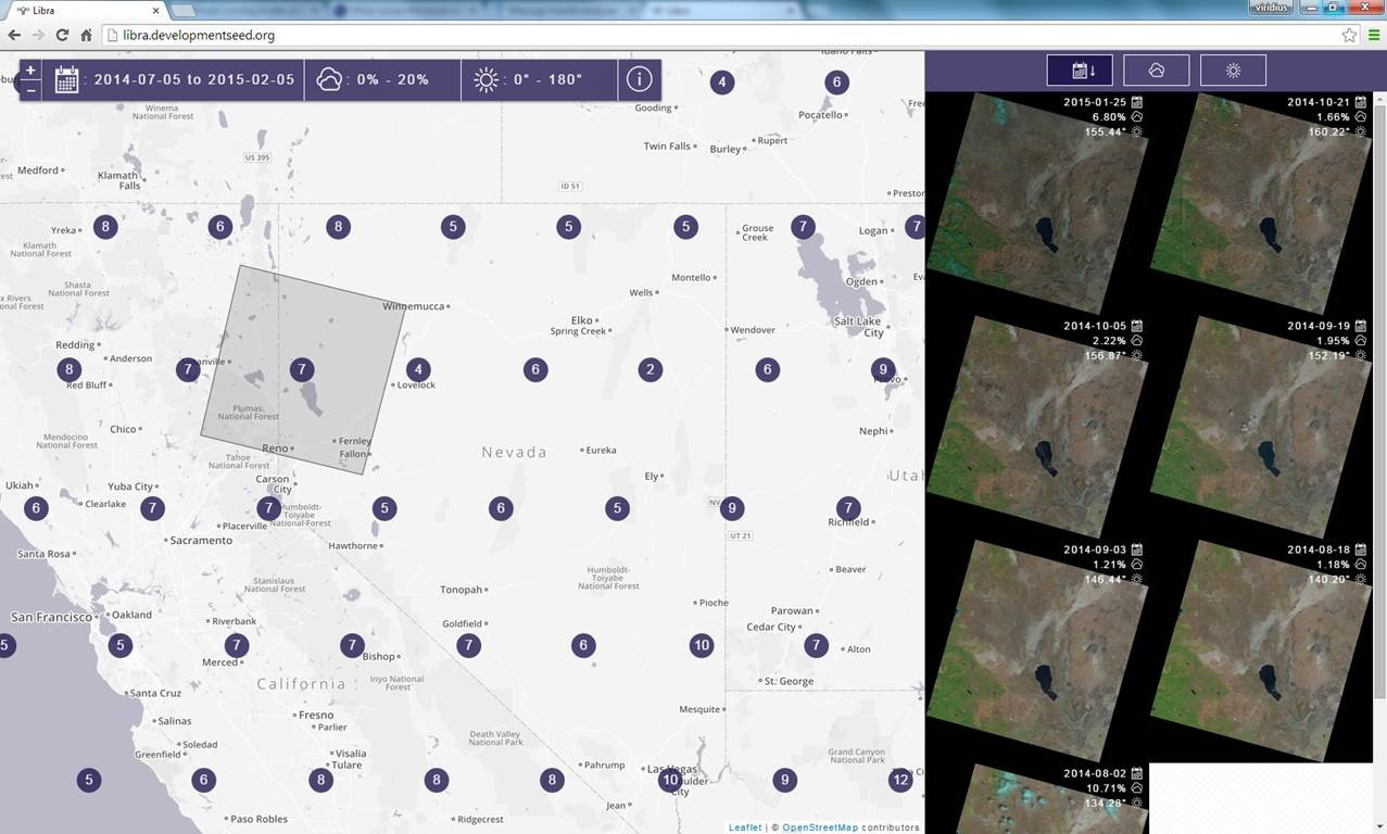 Interface for the Libra Development Seed Landsat Site.