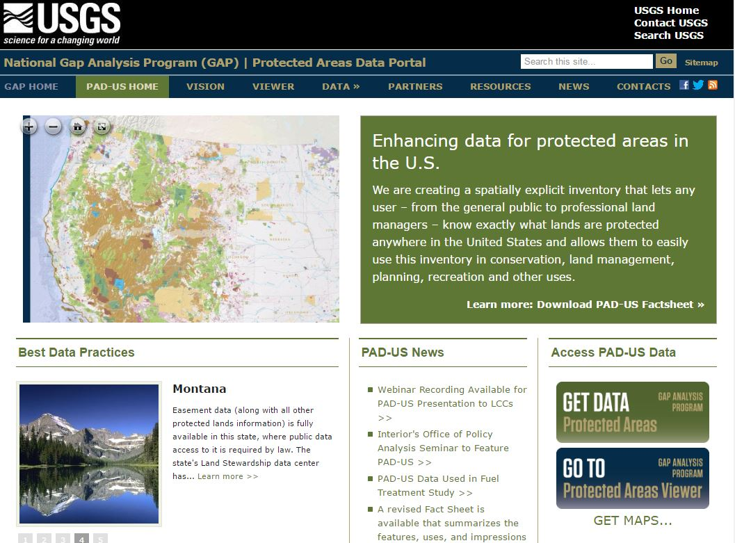 A Review of the Gap Analysis Program's Protected Areas Data Portal
