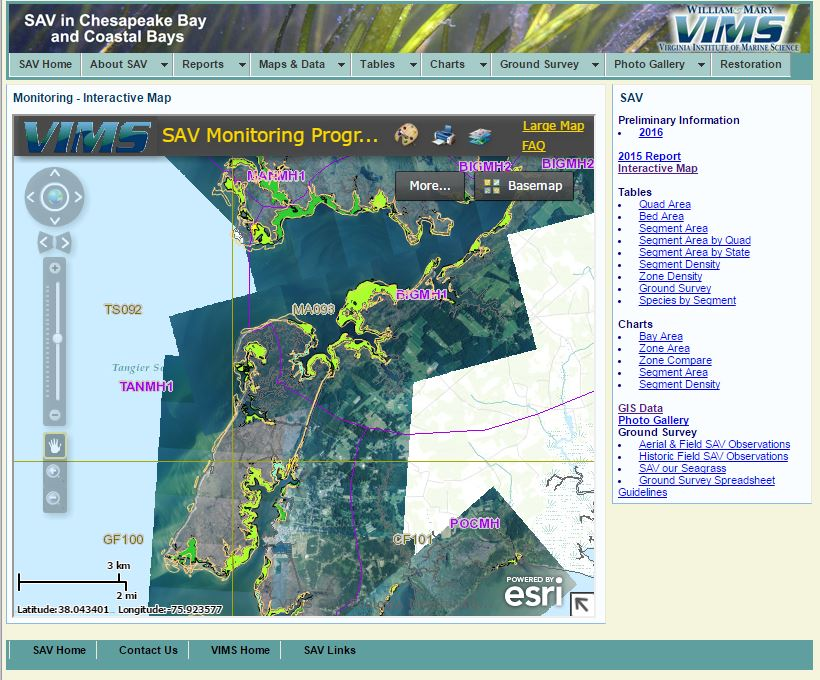 Data Portals for the Chesapeake Bay reviewed Spatial Reserves